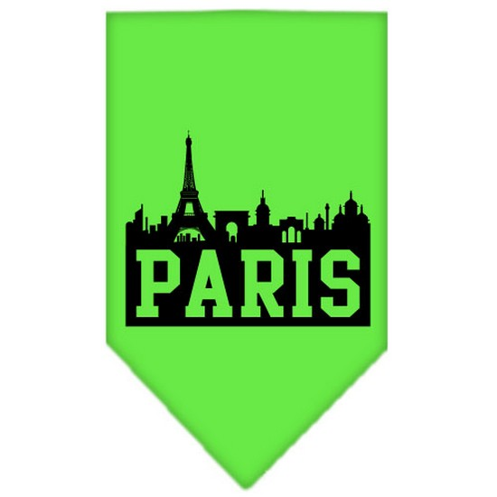 Paris Skyline Screen Print Bandana Lime Green Small