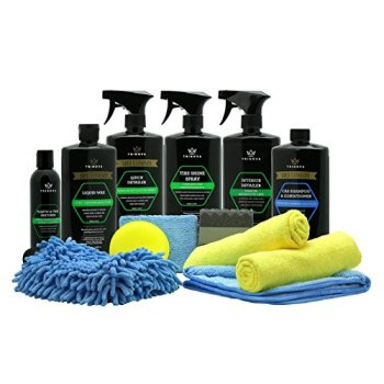 car wash kit complete detailing supplies for cleaning. soap, wax, tire shine, trim restorer, wash mitt, applicator, microfiber towel, best value to care for truck. (Best Sealant For Car Sunroof)