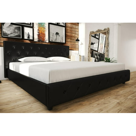 - Dakota Upholstered Faux Leather Platform Bed with Wooden Slat Support and Tufted Headboard and Footboard, Multiple Colors and Sizes
