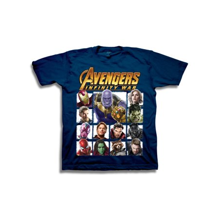 Avengers Infinity War Boys' Superhero Character Panels with Thanos Short Sleeve Graphic - Superhero Spandex Shirts