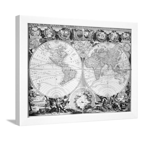Black And White World Map Framed.Two Hemisphere World Map Framed Print Wall Art Walmart Com