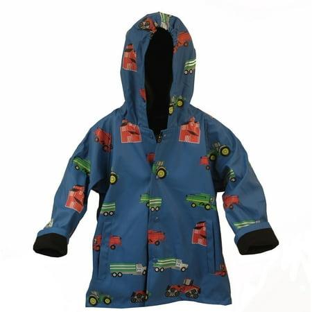 Foxfire Boys Blue Farm Equipment Print Hooded Raincoat 8