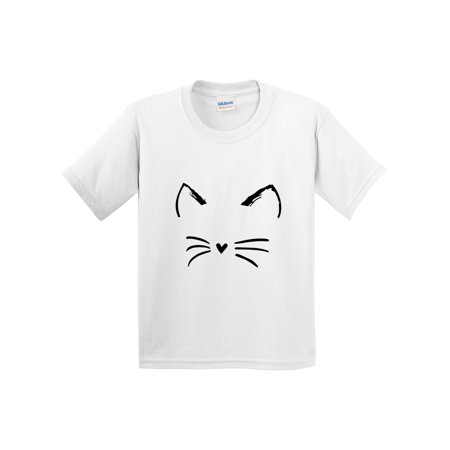 New Way 1128 - Youth T-Shirt Cat Whiskers Silhouette Heart Nose Small White (Cat Nose And Whiskers For Halloween)