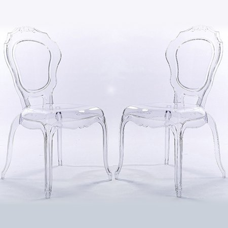 Cool 2Xhome Set Of 2 Clear Plastic Stackable Acrylic Ghost Chair Glam Modern Mid Century Contemporary No Arm Side Chair With Back Dining Accent Transparent Spiritservingveterans Wood Chair Design Ideas Spiritservingveteransorg