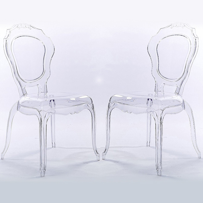 2xhome Set of 2 Clear Plastic Stackable Acrylic Ghost Chair Glam Modern Mid Century Contemporary No & Clear Chairs