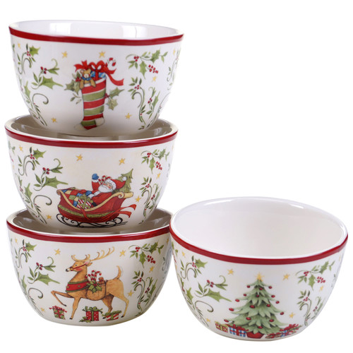 Certified International The Night Before Christmas 4 Piece Ice Cream Bowl Set