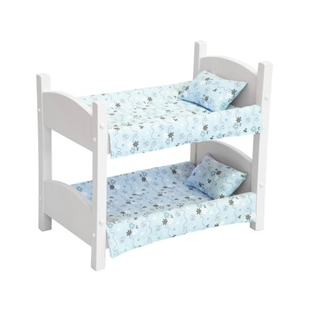 Amish-Made Wooden White Doll Bunk Bed for 18