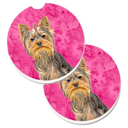 Pink Yorkie & Yorkshire Terrier Set of 2 Cup Holder Car -