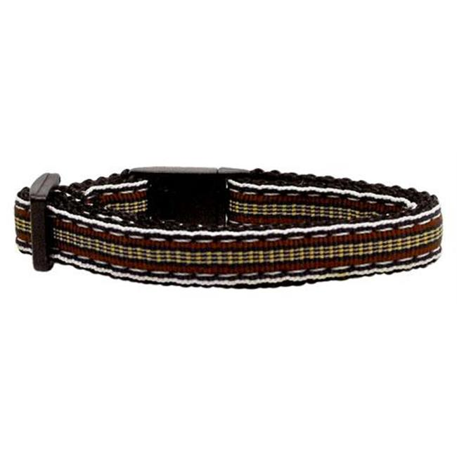 Preppy Stripes Nylon Ribbon Collars Brown - Khaki Cat Safety