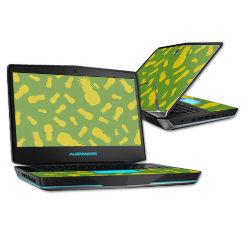 """MightySkins Protective Vinyl Skin Decal for Alienware 14"""" (Released 2013) wrap cover sticker skins Pineapple Print"""