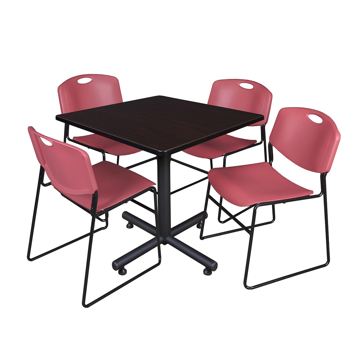 Regency Kobe Square Breakroom Table with 4 Stackable Zeng Chairs