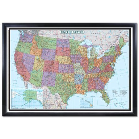 24X36 United States  Usa Us Decorator Black Framed Wall Map