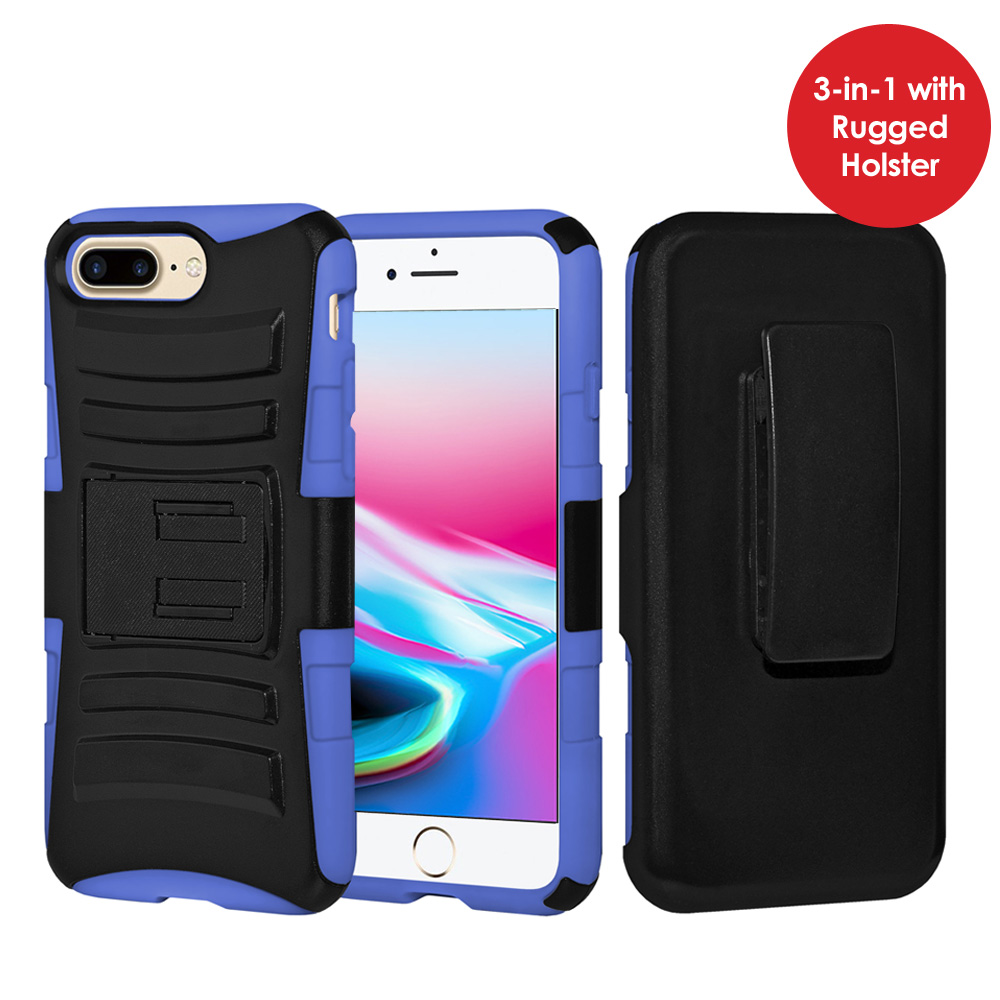 iPhone 8 Plus Case, Rugged TUFF Hybrid Armor Hard Defender Rotating Clip Holster Cover with Kickstand for iPhone 8 Plus - Black/ Dark Blue