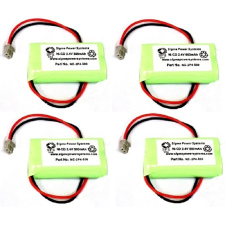 SPS Brand 2.4 V 500 mAh Replacement Battery  for Panasonic HHR-P506A Cordless Phone (4 PACK)
