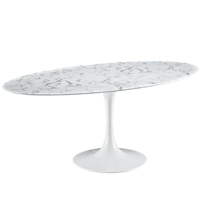 "Modway Lippa 78.5"" Oval Faux Marble Top Dining Table in W..."