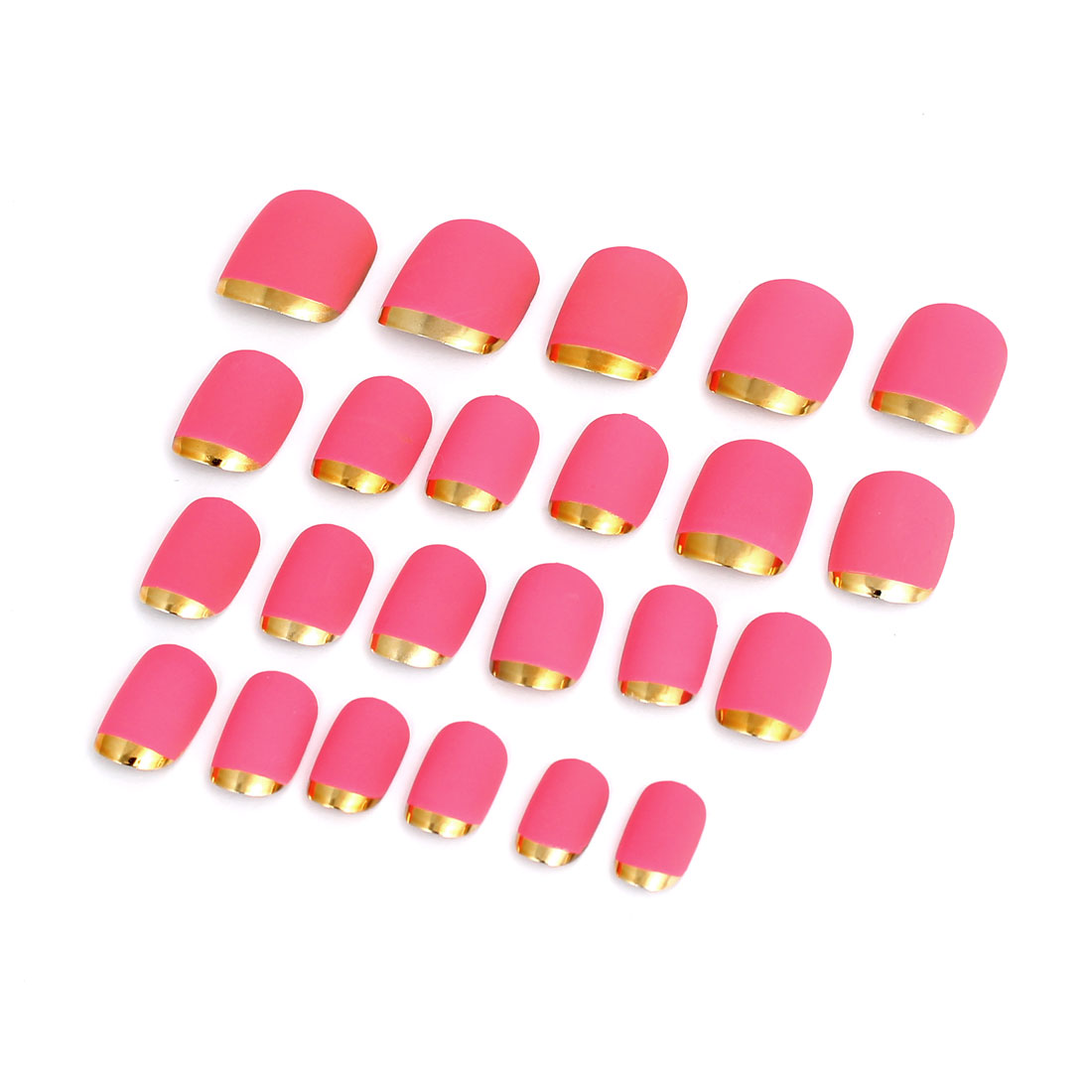 Women Lady DIY Fake False Fingernail Full Nail Art Tip Tool Pink 24 in 1