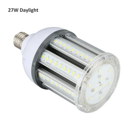 Lampwin 27W Led Corn Light Bulb, 2700LM E27 Base 6500K Cool White, Warehouse Garage 360 Degree Flood Light Base Lensed 38 Degree Flood