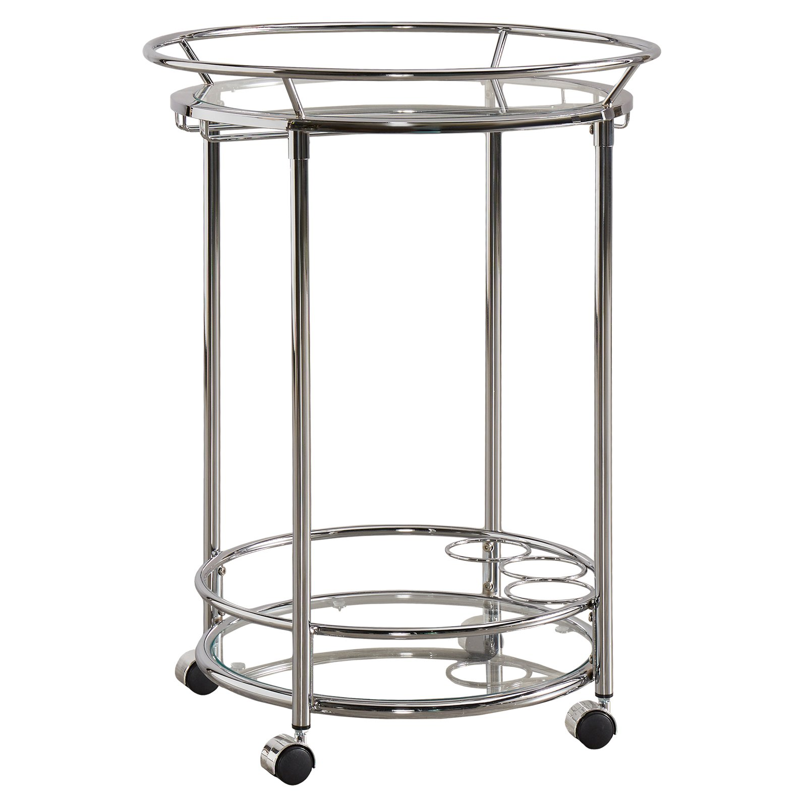 Chelsea Lane Chrome Tempered Clear Glass Metal Kitchen Cart
