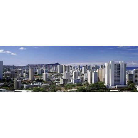 High angle view of a city Honolulu Oahu Honolulu County Hawaii USA 2010 Canvas Art - Panoramic Images (18 x 6) - Party City Oahu