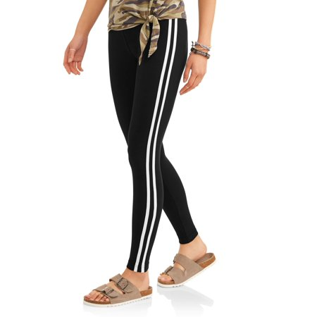 Juniors' Side Stripe Sueded Jersey Ankle Leggings (Prints & Solids)