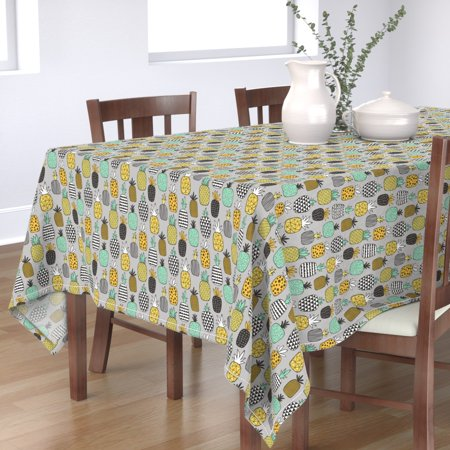 Tablecloth Pineapple Pineapples Hawaii Fruit Summer Food Geometric Cotton Sateen