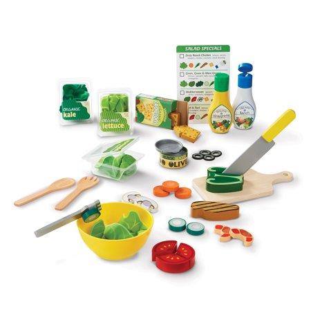 Developmental Play Food - Melissa & Doug Slice and Toss Salad Play Food Set – 52 Wooden and Felt Pieces