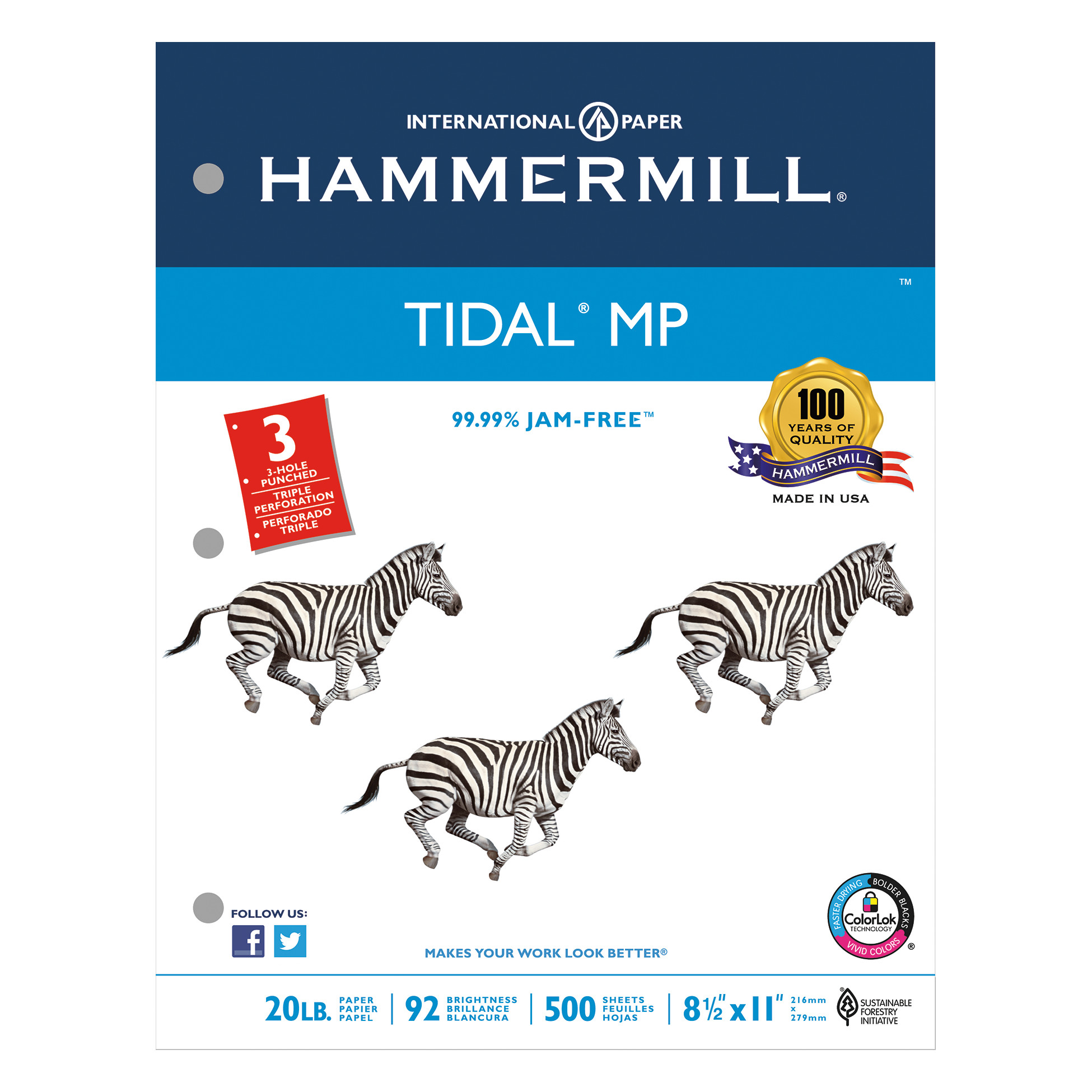 Hammermill Tidal MP Copy 3-Hole Punched Paper, 92 Brightness, 20lb, Ltr, White, 5000/Ctn