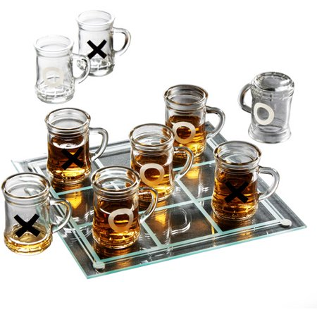 Game Night Tic-Tac-Toe Drinking Game Set with Mini Beer Mugs (Halloween Beer Drinking Games)