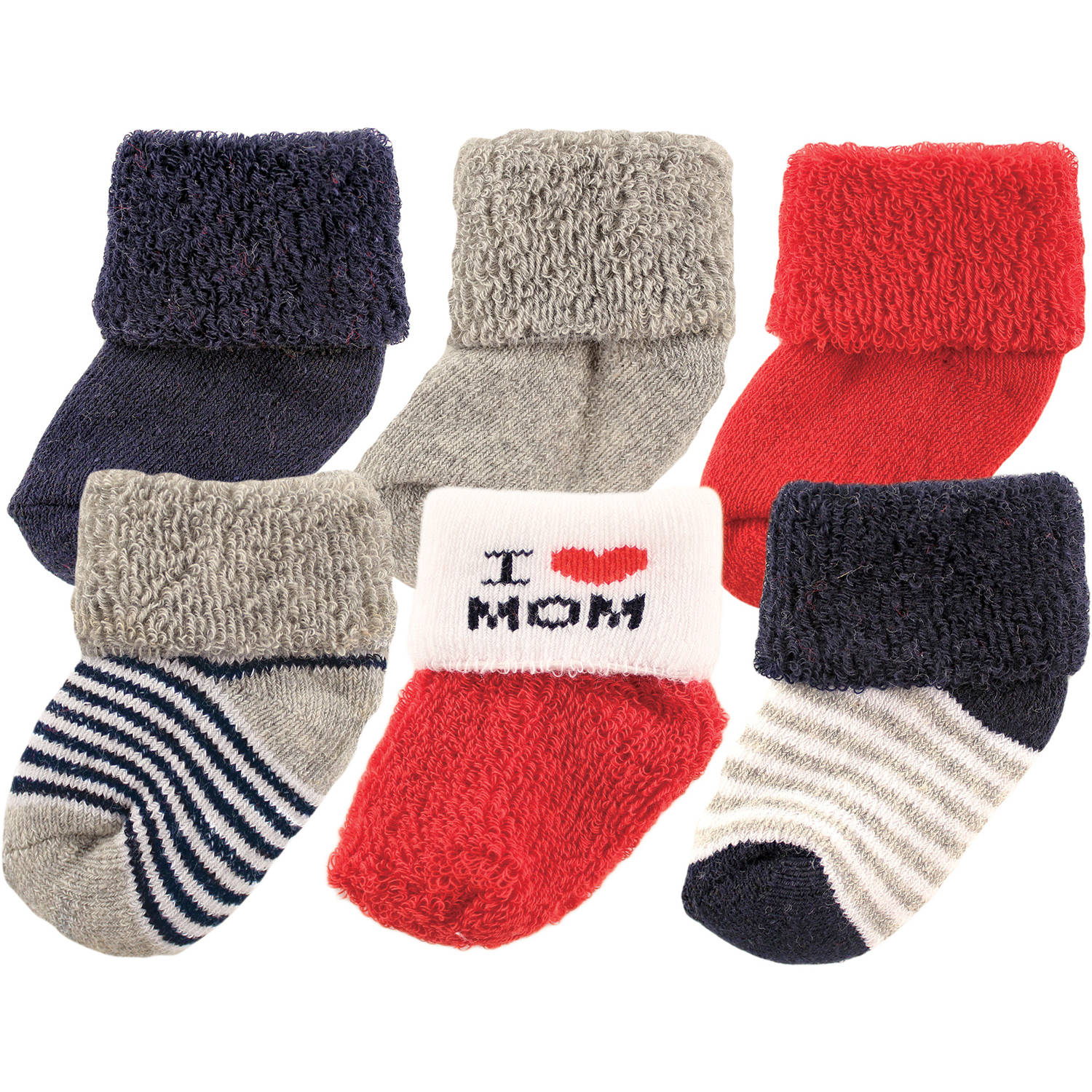 Luvable Friends Newborn Baby Boy Socks 6-Pack
