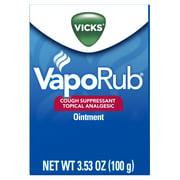 Vicks VapoRub Cough Suppressant Chest Rub Ointment, Original, 3.53 oz