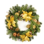 """Northlight  24"""" Unlit Gold Poinsettia, Apple and Berry Artificial Christmas Wreath"""