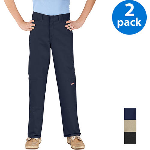 Dickies Boys' Double-Knee Twill Wrinkle Resistant Pants, 2-Pack Value Bundle