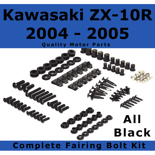 and Hardware Fasteners Black Complete Motorcycle Fairing Bolt Kit Kawasaki 2004-2005 ZX-10R ZX 1000E Body Screws