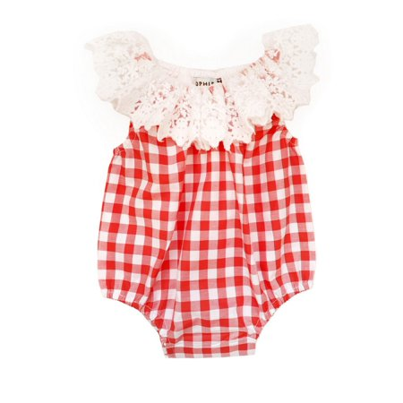 - Sophie Catalou Baby Girls Red Gingham Lace Trim Adorned Bubble Bodysuit