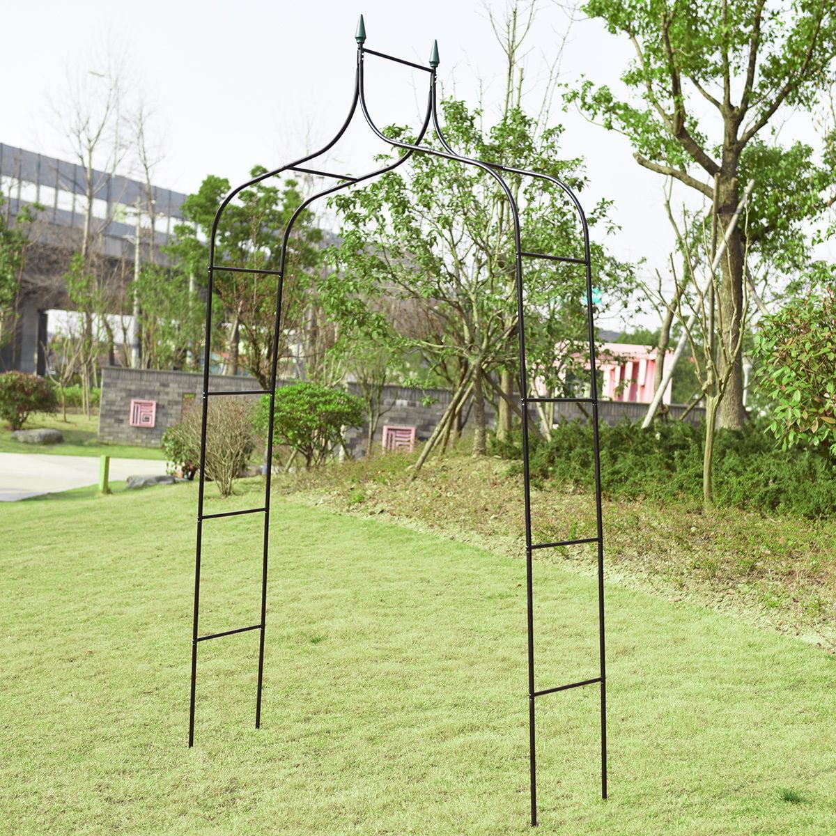 Costway 8'4'' High x 4'7'' Wide Steel Garden Arch Rose Arbor Climbing Plant Outdoor Garden by Costway