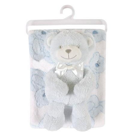 Stephan Baby Fleece Blanket and Bear Plush Toy Set
