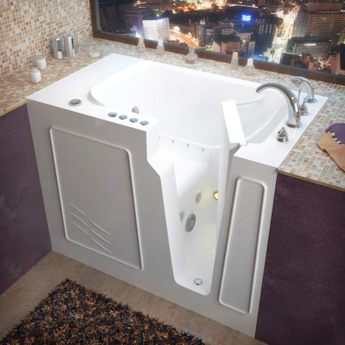 """Avano AV2952RD Walk-In Tubs 52"""" Gel Coated Air / Whirlpool Bathtub for Alcove Installations with Right Drain, Roman Tub Faucet and Handshower"""