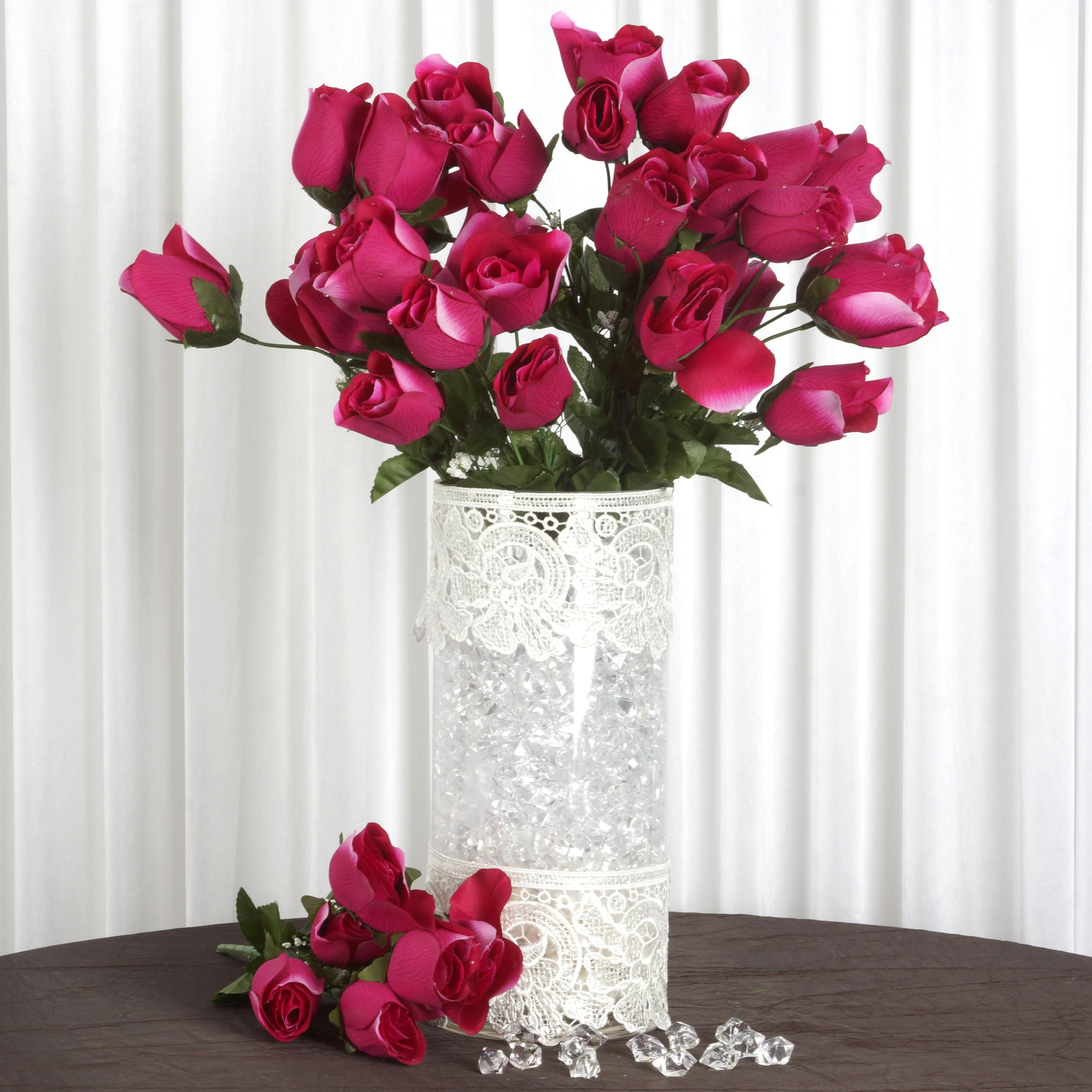60 Roses Bud FUCHSIA PINK Silk Wedding Flowers DIY Bouquets Centerpieces