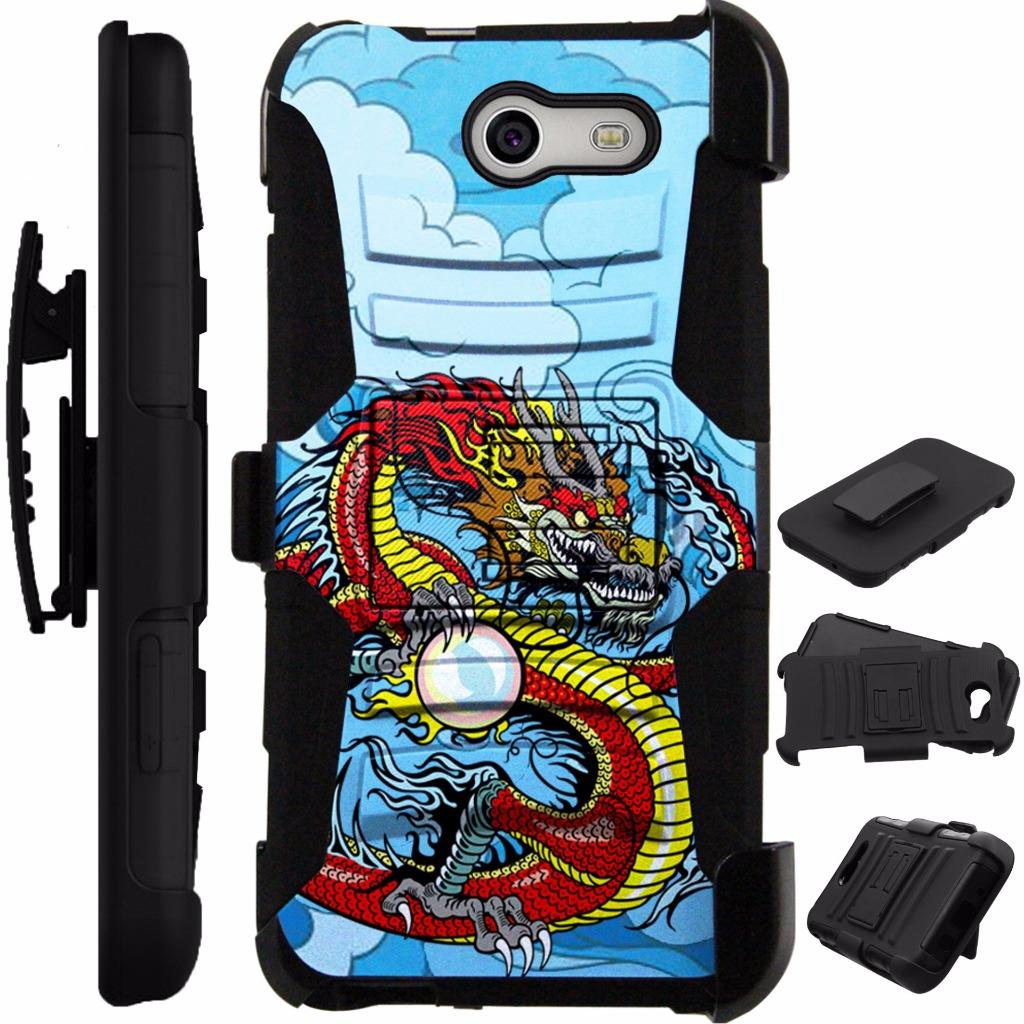 For Alcatel Zip Case Heavy Duty Cover Kick Stand LuxGuard Holster (Red Dragon)