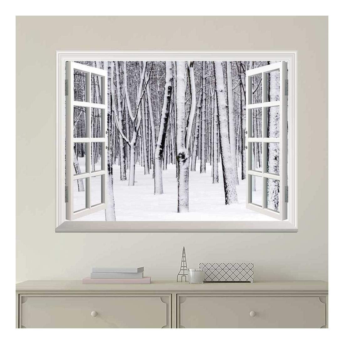 wall26 Modern White Window Looking Out Into a Snowed in Forest - Wall Mural, Removable Sticker, Home Decor - 24x32 inches