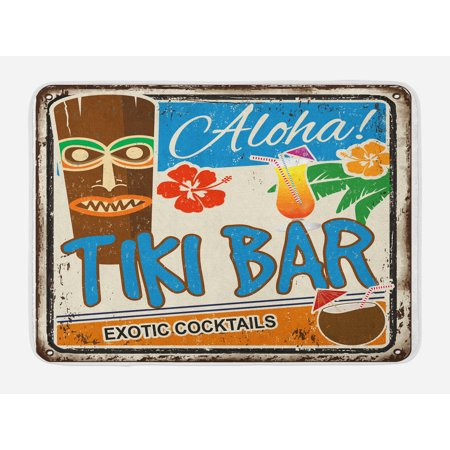 Tiki Bar Bath Mat, Rusty Vintage Sign Aloha Exotic Cocktails and Coconut Drink Antique Nostalgic, Non-Slip Plush Mat Bathroom Kitchen Laundry Room Decor, 29.5 X 17.5 Inches, Multicolor, Ambesonne