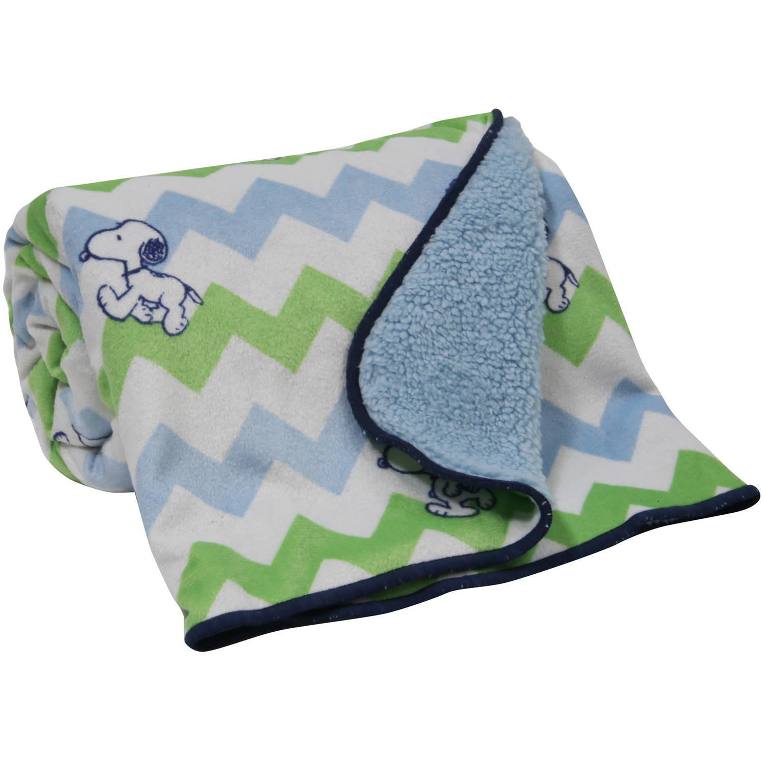 Bedtime Originals Snoopy Chevron Velour Sherpa Blanket