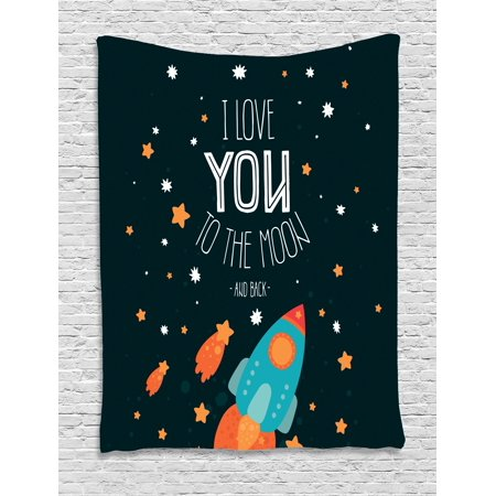 I Love You Tapestry, Rocket on the Road of Space Adventurist Cosmic Couples Happy Birthday Theme, Wall Hanging for Bedroom Living Room Dorm Decor, 40W X 60L Inches, Multicolor, by - Themes For Couples