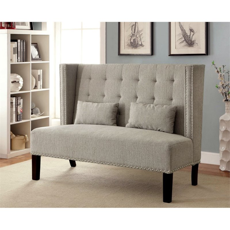 Furniture of America Gwen Tufted Fabric Settee in Beige