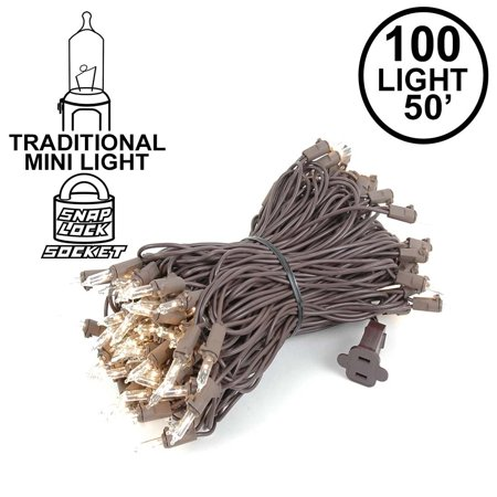 Novelty Lights 100 Light Christmas Mini Light Set, Brown Wire, 50' Long - Orange Light Bulbs Halloween