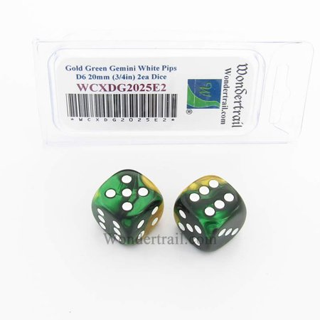 Gold and Green Gemini Dice with White Pips 20mm (3/4in) D6 Pack of 2 Wondertrail
