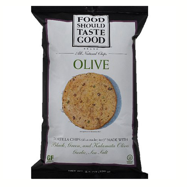 Food Should Taste Good Olive Tortilla Chips 5.5 oz Bags - Pack of 12