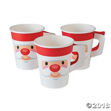 Paper Cups With Handles (Cheery Santa Christmas Paper Cups with)