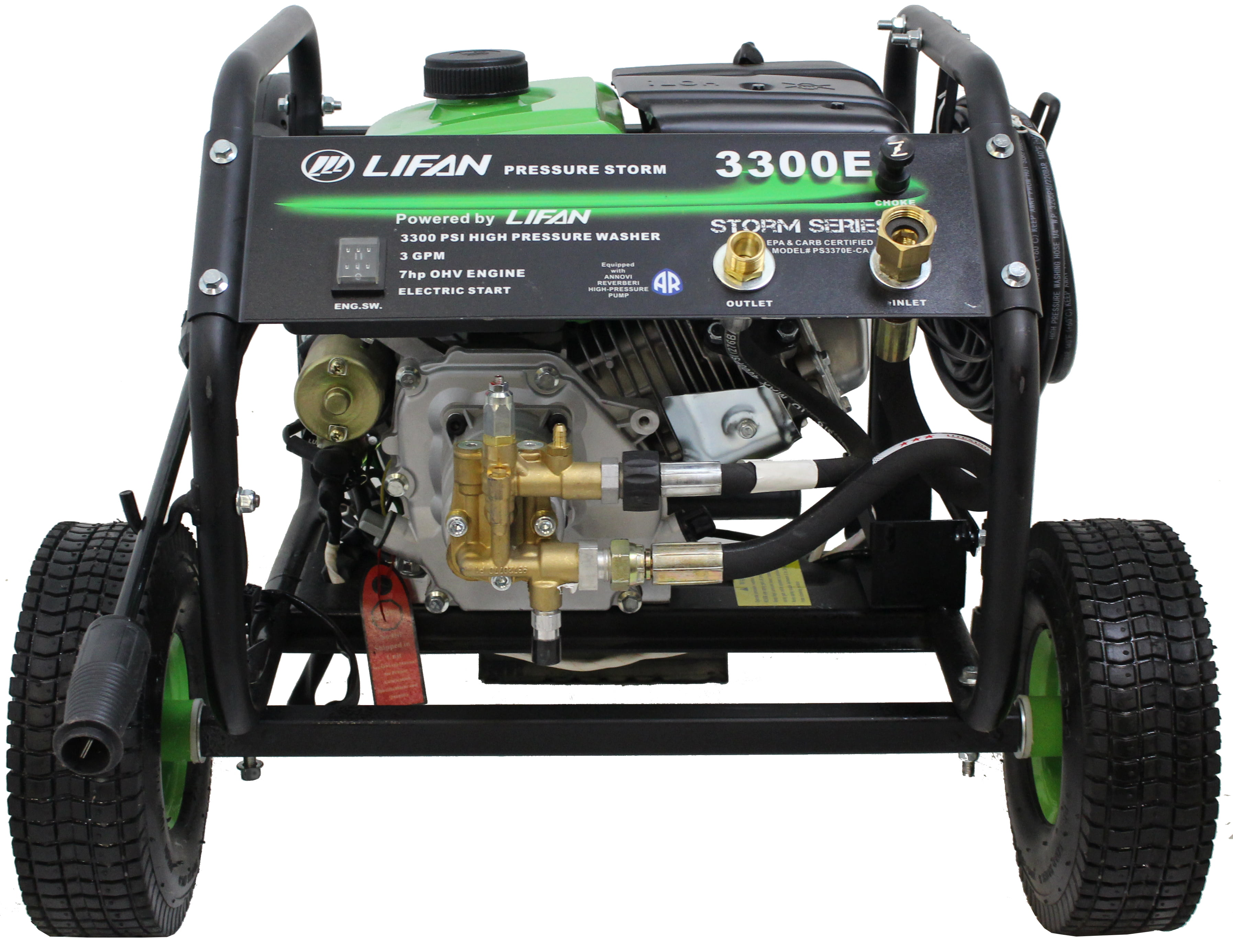 New Design Electric Start Pressure Storm Series 3300-PSI 3 GPM AR Axial Cam  Pump - Recoil Start Gas Engine Pressure Washer with EZ Access Panel