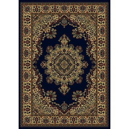 Vitaly Mesopotamia Area Rugs - 1191 Traditional Oriental Navy Blue Medallion Floral Bordered Persian